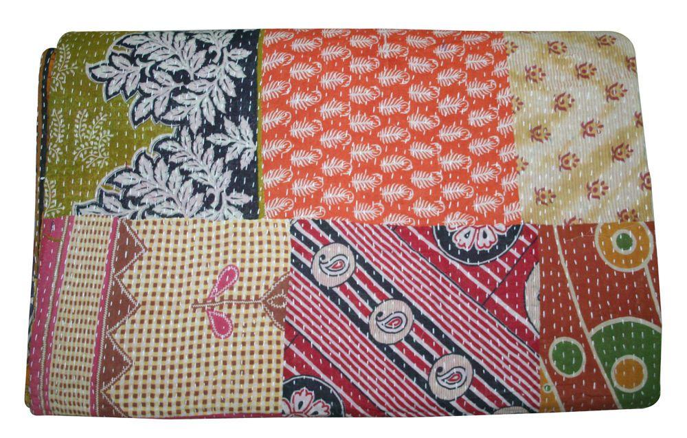Indian Vintage Kantha Quilt Cotton Patchwork Bedspread Blanket Throw King Quilt Quilts, Bedspreads & Coverlets Bedding