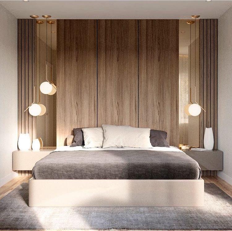 Modern Minimalist Bedroom Design: Mezcla Espejo, Listones Y Paneles