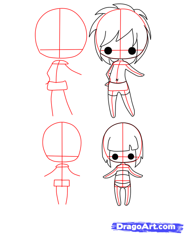 step 2 how to draw chibi bodies clay doll armature base for