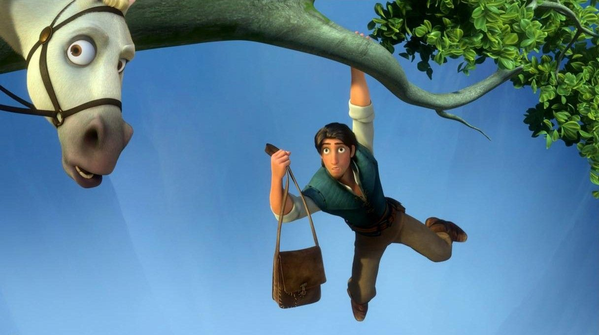 Flynn rider and maximus the horse about to fall down from - Raiponce maximus ...
