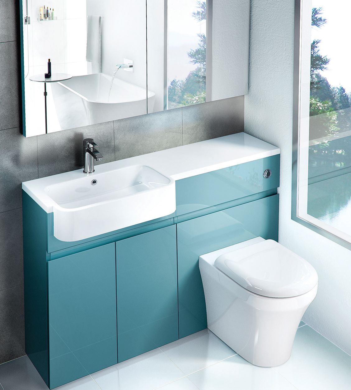 vanity basin units for bathroom. Aqua Cabinets D300 1200mm Combination WC And Basin Unit  from UK Bathroom Solutions