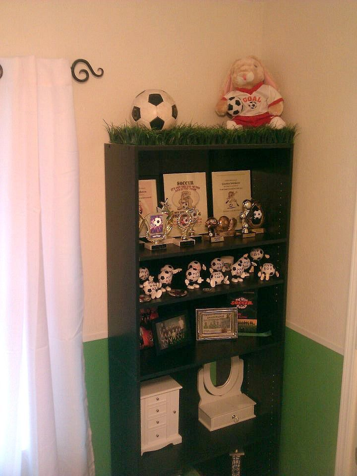 Soccer Bookshelf In Lauryns Room Crafts Bedroom Football Decor Fake Grass