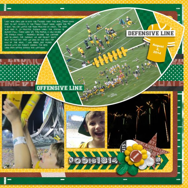 football newspaper scrapbook pages   Layout by Rebecca using 1st and 10 by Traci Reed