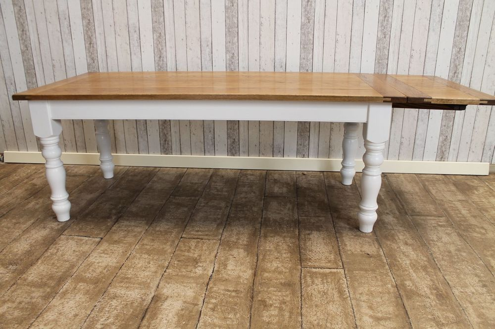 8ft extending country farmhouse kitchen table with oak top