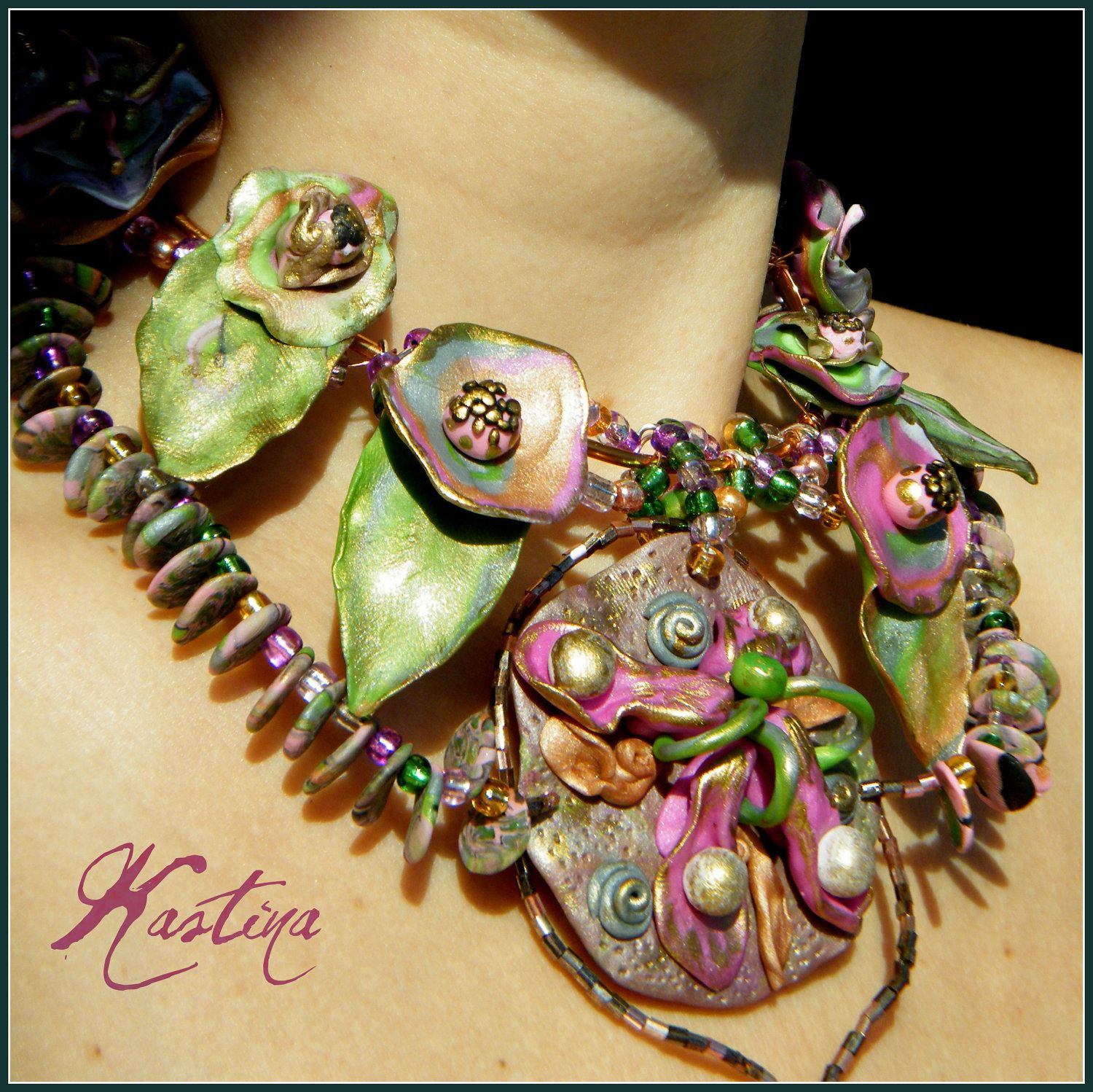 Green Polymer clay and copper wire whimsical necklace \