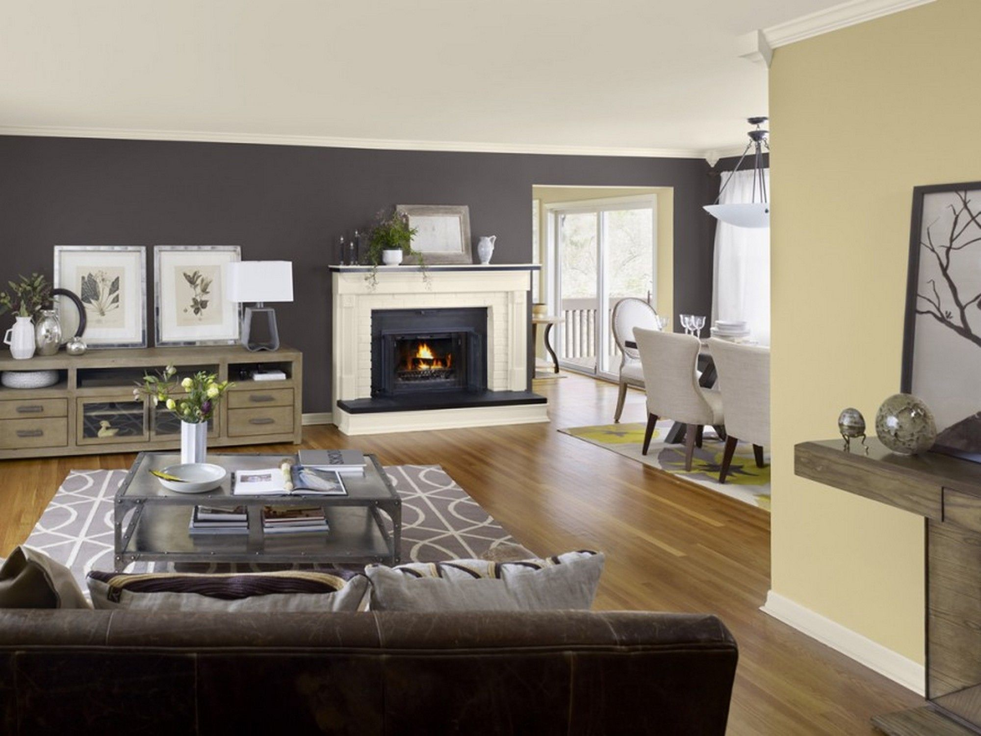 Luxurious Modern Open Floor Plans Design With Dark Brown Sofa