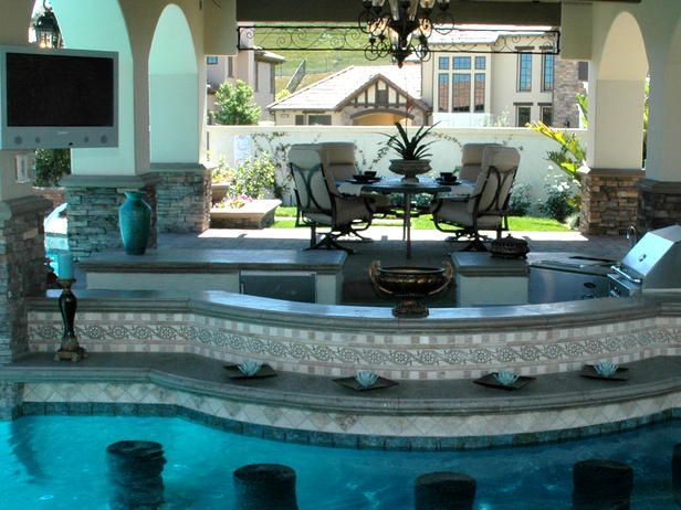 pool and outdoor kitchen designs sunken outdoor kitchen http www hgtv landscaping 10 7523