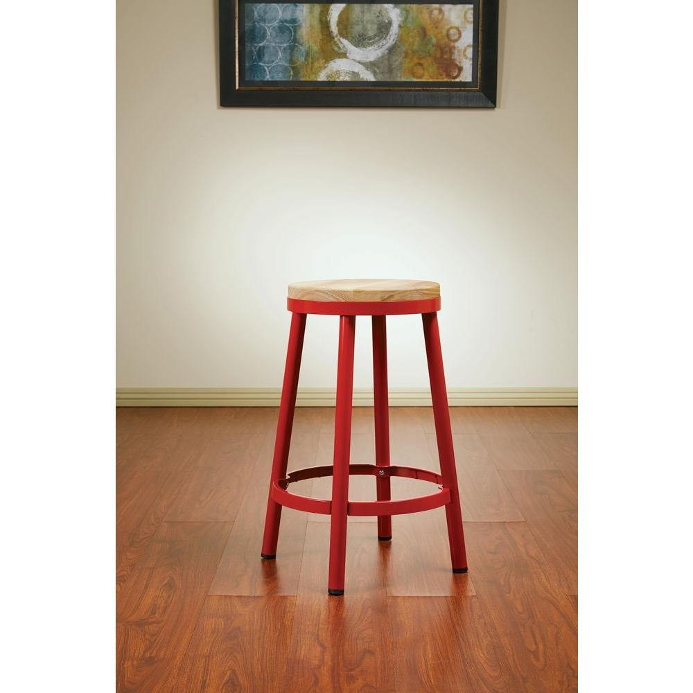 OSP Home Furnishings Bristow 26.25 in. Red Bar Stool