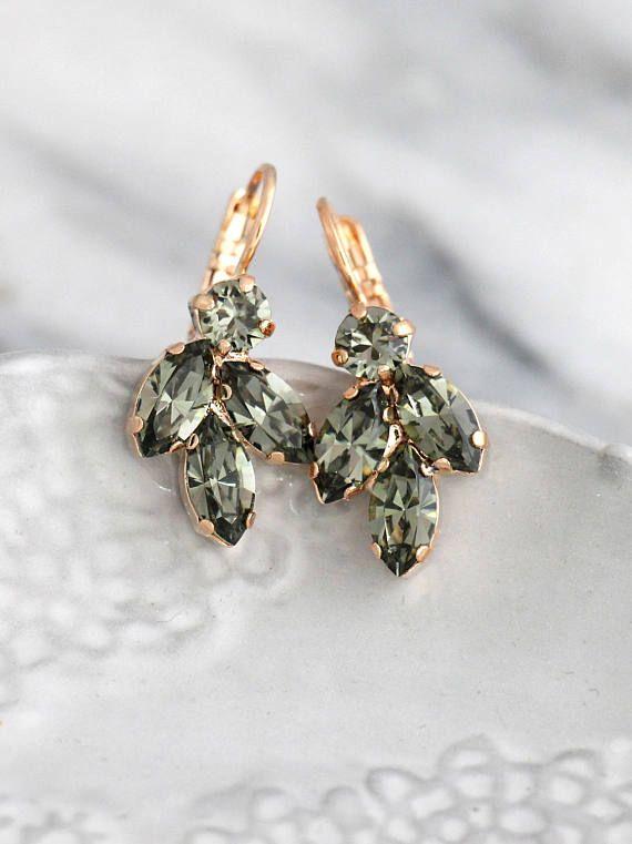 42fe0b4b3 Gray Earrings, Dark Gray Earrings, Bridal Gray Earrings , Swarovski Gray  Earrings, Black