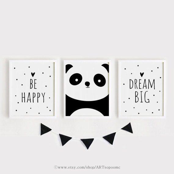 Druckbare Kinderzimmer Kunst Set 3 Poster Kinderzimmer Wand Kunst Kinderzimmer Dekor schwarz und weiß glücklich sein, Panda, Traum große Poster Print Set 50 x 70