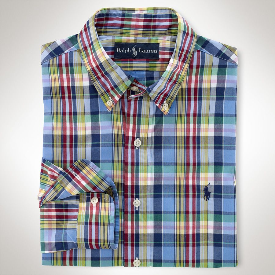 Polo Ralph Lauren Custom-Fit Plaid Poplin Shirt  VonMaur  b0f09f89c0e