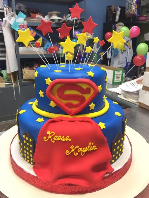 Marvelous Supergirl Birthday Cake Adrienne Co Bakery Superhero Cake Funny Birthday Cards Online Elaedamsfinfo