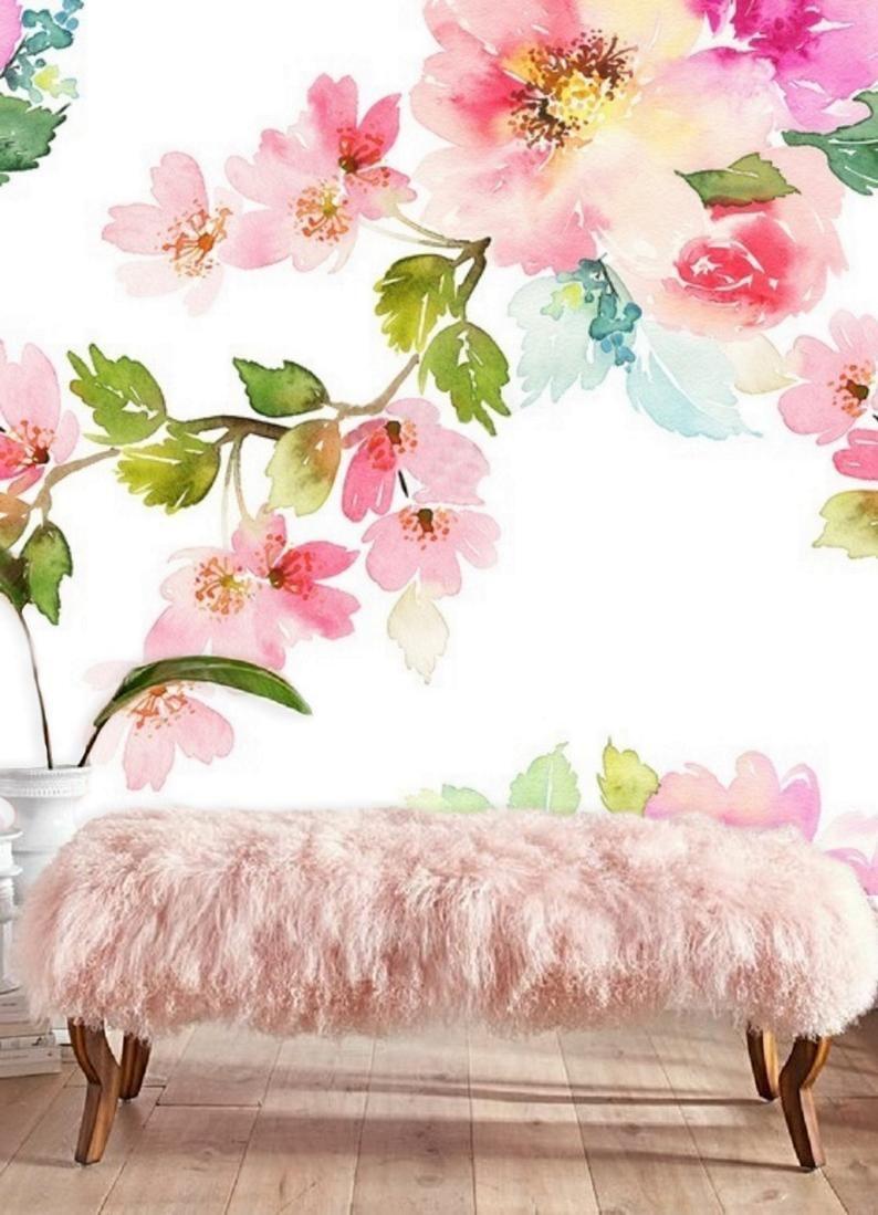 Pink Floral Wallpaper Mural Peel Stick Wallpaper Remove Etsy In 2020 Floral Wallpaper Floral Wallpaper Bedroom Mural Wallpaper