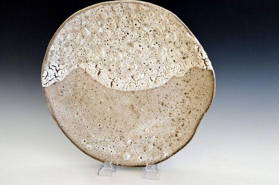 Cream Ceramic plate Yin & Yang  wave pottery by BlueDoorCeramics