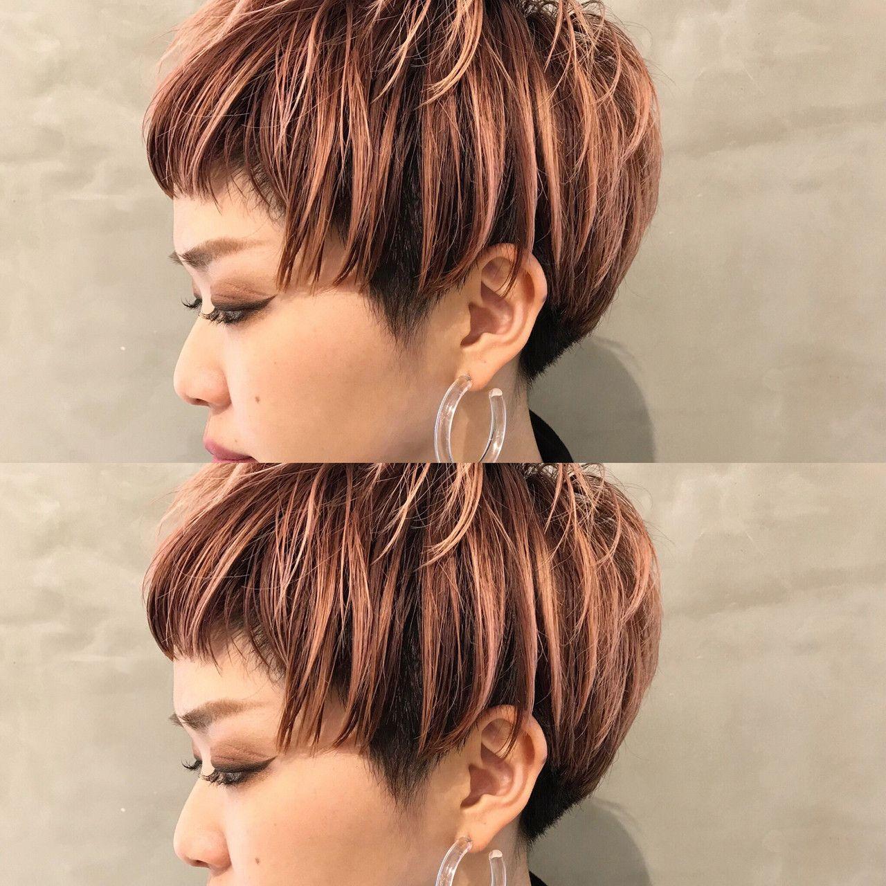 グラデーションカラー ピンク モード ベビーバング Salon Ryu 永島