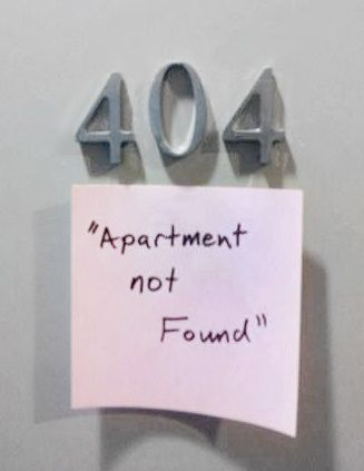 404 Apartment Not Found Funny Computer Error Image