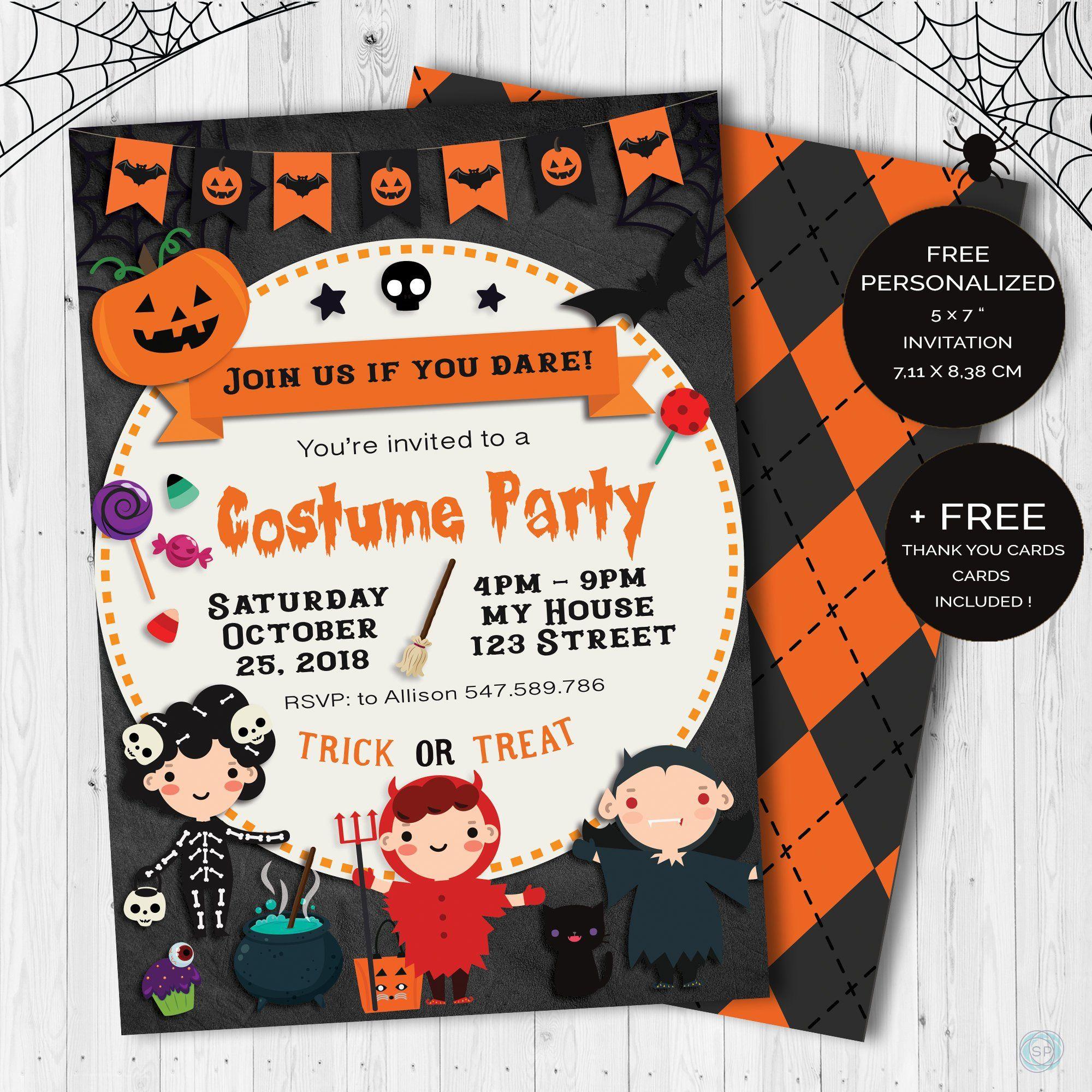 Halloween Invitación Para Fiesta De Disfraces De Niños