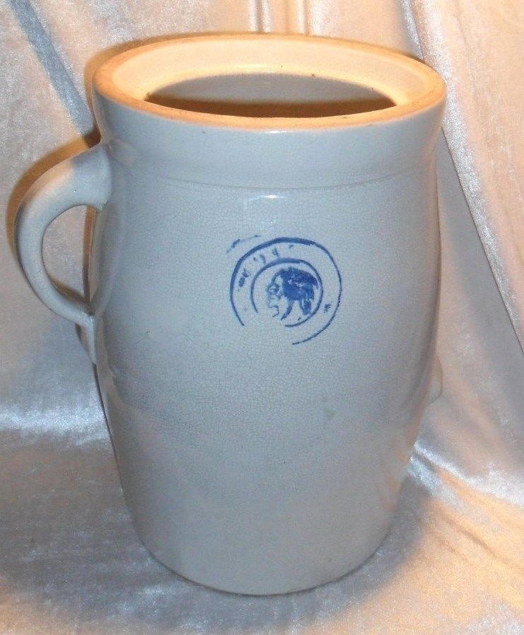 Antique Stoneware Butter Churn W Indian Head Stamp Two