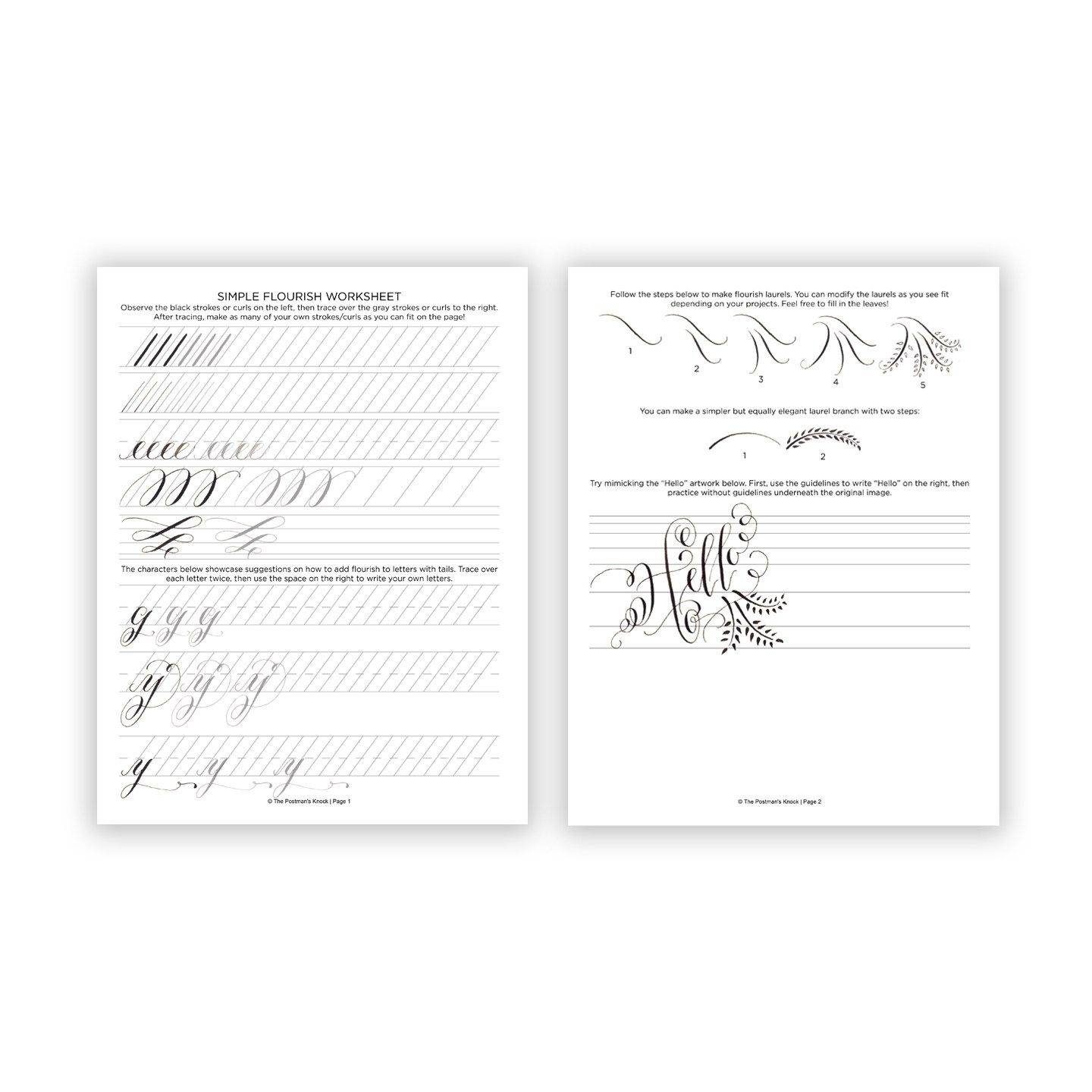 Free Printable Calligraphy Flourishing Worksheet With
