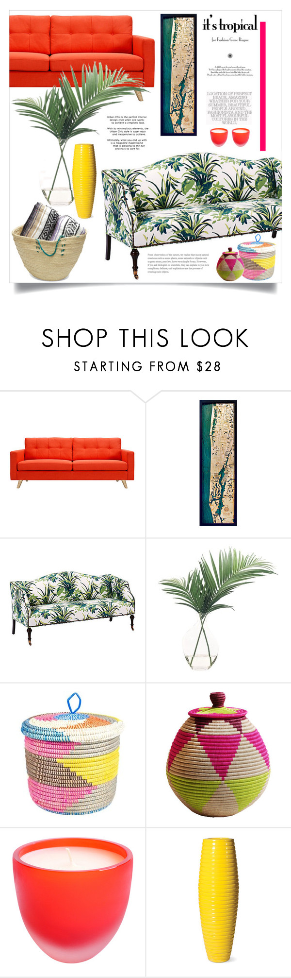 """tropical."" by kelle-elizabeth ❤ liked on Polyvore featuring interior, interiors, interior design, home, home decor, interior decorating, Dot & Bo, Thos. Baker, NDI and Swahili"