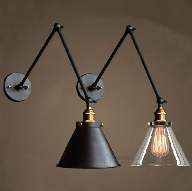 Retro Two Swing Arm Wall Lamp For Bedroom Bedside