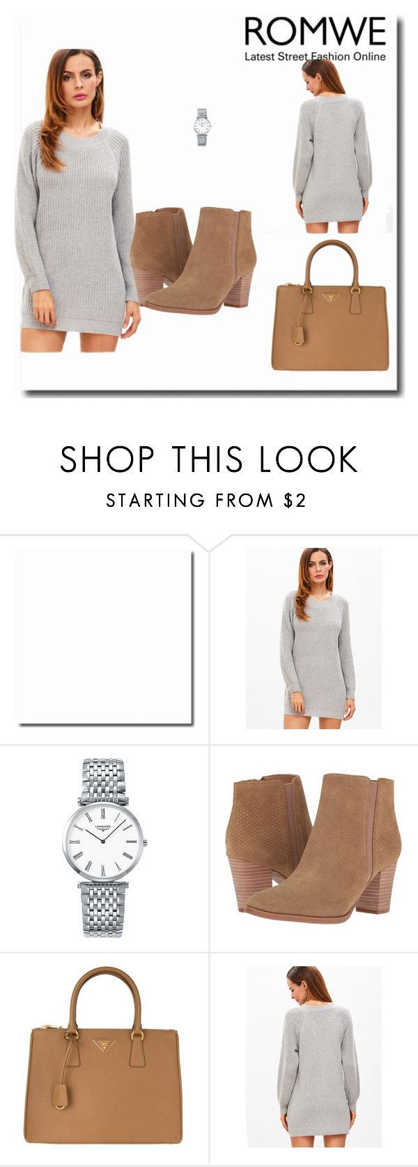 """Romwe look"" by nedla ❤ liked on Polyvore featuring Longines, Franco Sarto and Prada"