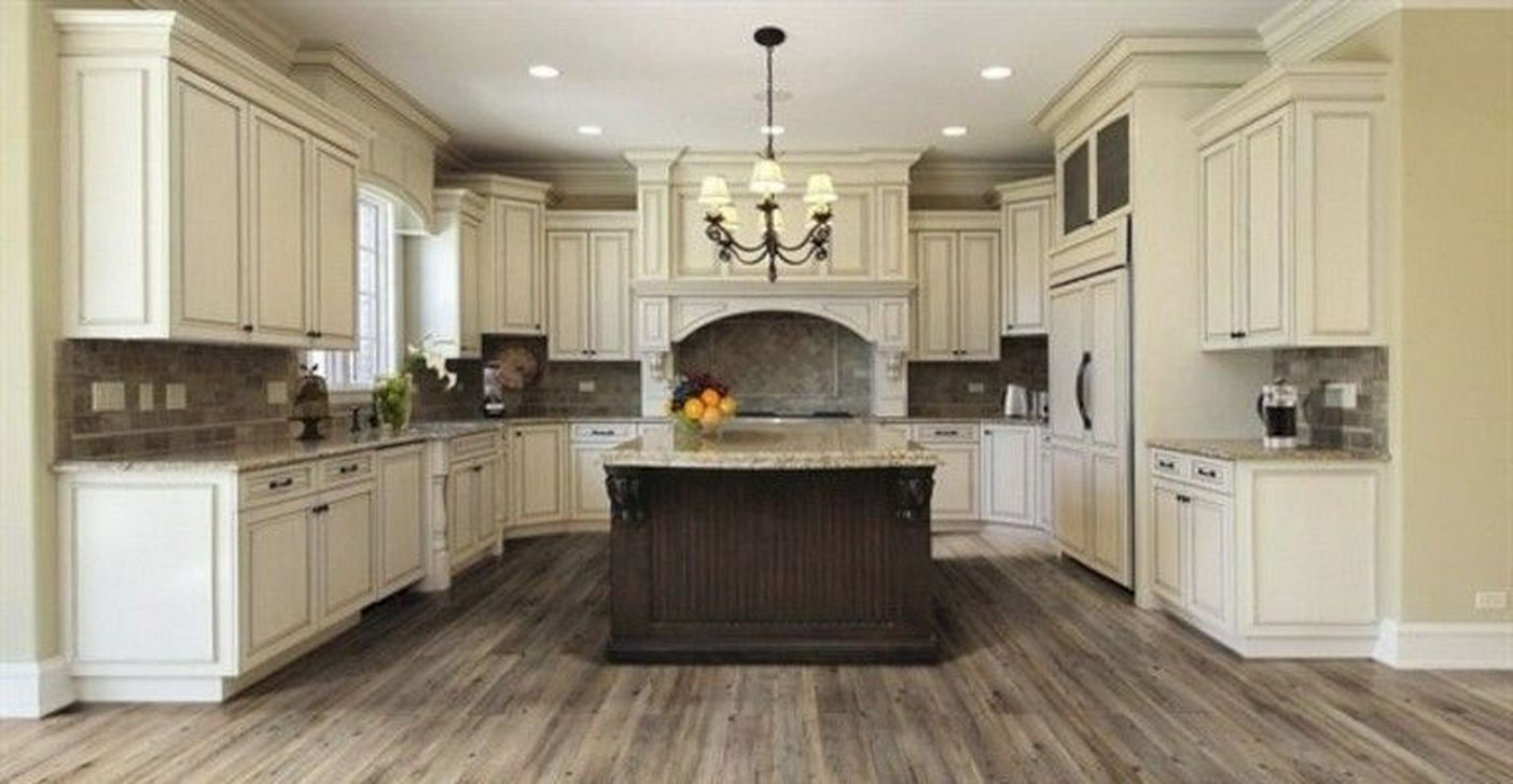 Cool 48 Romantic Rustic Farmhouse Kitchen Cabinets Ideas More At Https Homyf Trendy Farmhouse Kitchen Rustic Kitchen Cabinets Cream Colored Kitchen Cabinets