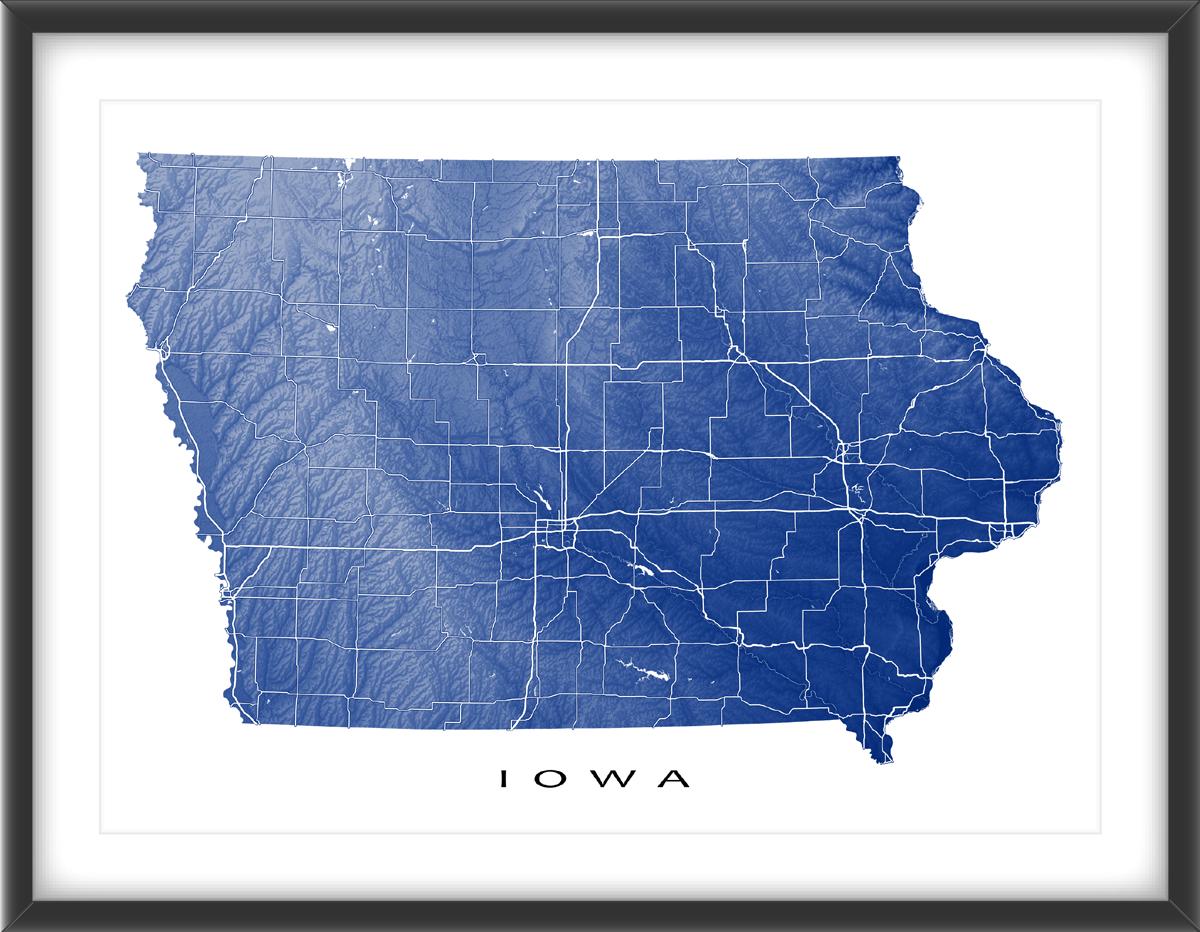 Iowa Map Print, USA State, IA | US State Landscape Maps | Pinterest ...