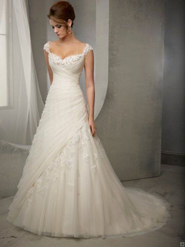 Shoulder Straps Lace Trimmed A-line Pleatd Tulle Wedding Dress ...