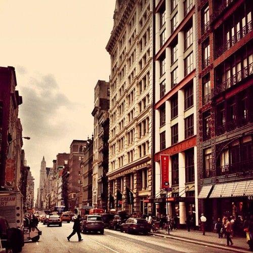 Crossing Lower Broadway. Greenwich Village, New York City.