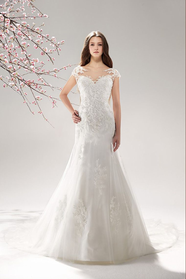 Lace mermaid wedding dress with cathedral train   Bateau Wedding Dress MermaidTrumpet Embellished With Beaded