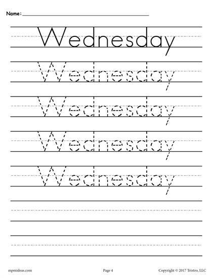 7 Free Days Of The Week Handwriting Worksheets Handwriting