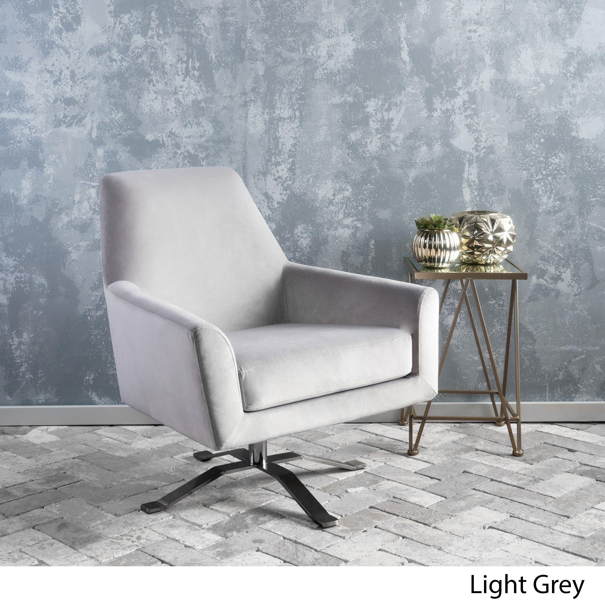 Ailis Velvet Fabric Swivel Club Chair By Christopher Knight Home Light Grey