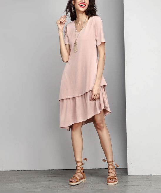 Mauve V-Neck Asymmetrical Layered Dress