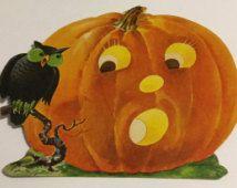 Vintage Dennison Halloween Jack O Lantern with Owl Die Cut