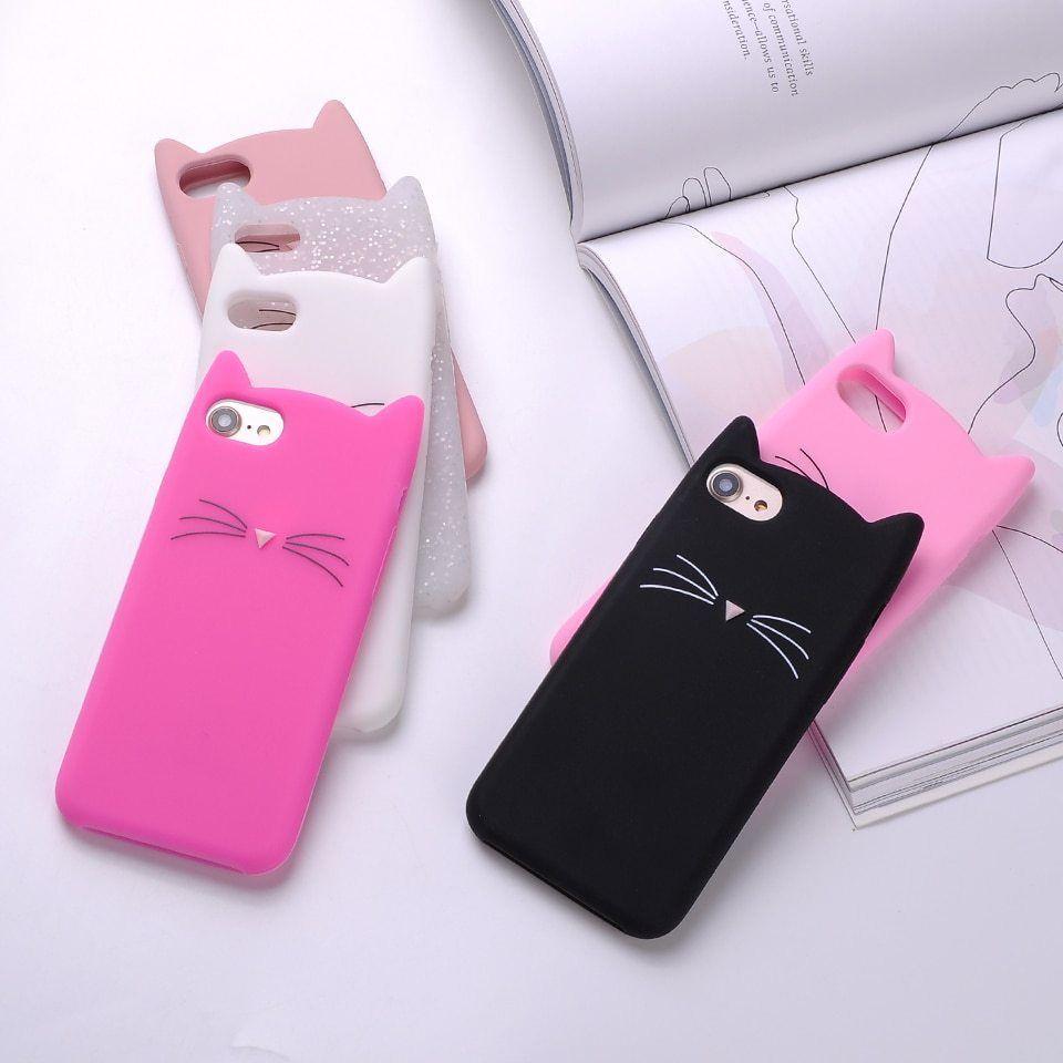 Tomocomo Cute 3d Silicone Cartoon Cat Pink Black Soft Phone Case