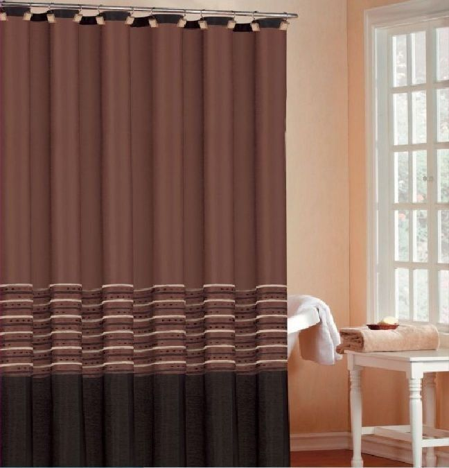 Luxury Chocolate Brown Faux Silk Shower Bath Curtain X Chenille Striping
