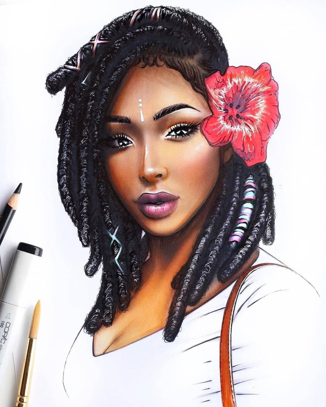 Dope Black Art On Instagram Dopeblackart By Brienneyvonne Loc Queen Natural10 11 Pro I Love Drawing With Markers More Than Can Put Into