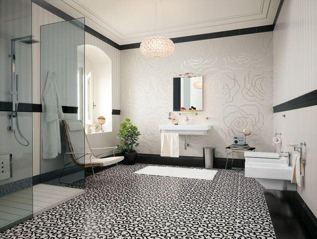 Dusche mit glaswand geräumiges badezimmer vintage style fliesen