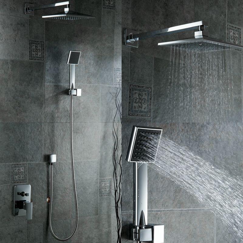 Free Shipping New Chrome Br Water Pressure Boosting Bathroom Rain 8 Shower Mixer Tub Faucet