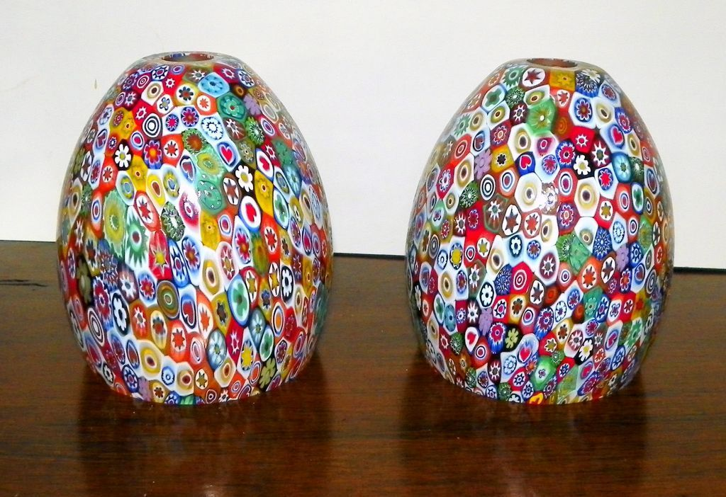 Vintage pair murano millefiori glass lamp shades globes lighting this lovely pair of vintage murano millefiori glass lamp shades or globes was found in storage at a living estate sale mozeypictures Gallery