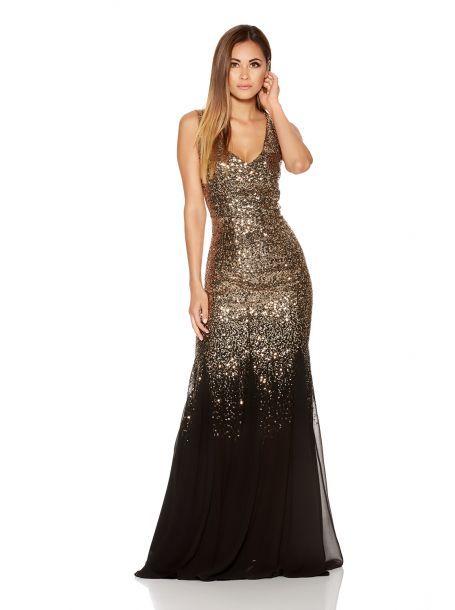 Black And Gold Sequin Fishtail Maxi Dress Floral Dress Casual Glitter Dress Long Gold Dresses Long