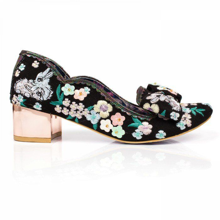 Bunny Embroidered Mid Heel Shoes F Irregular Choice /'Bunny Hop Black Floral