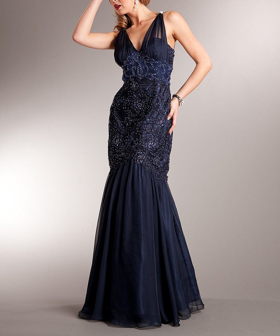 63c0f75f24b Amelia Couture Navy Beaded Mermaid Gown by Amelia Couture  zulily   zulilyfinds