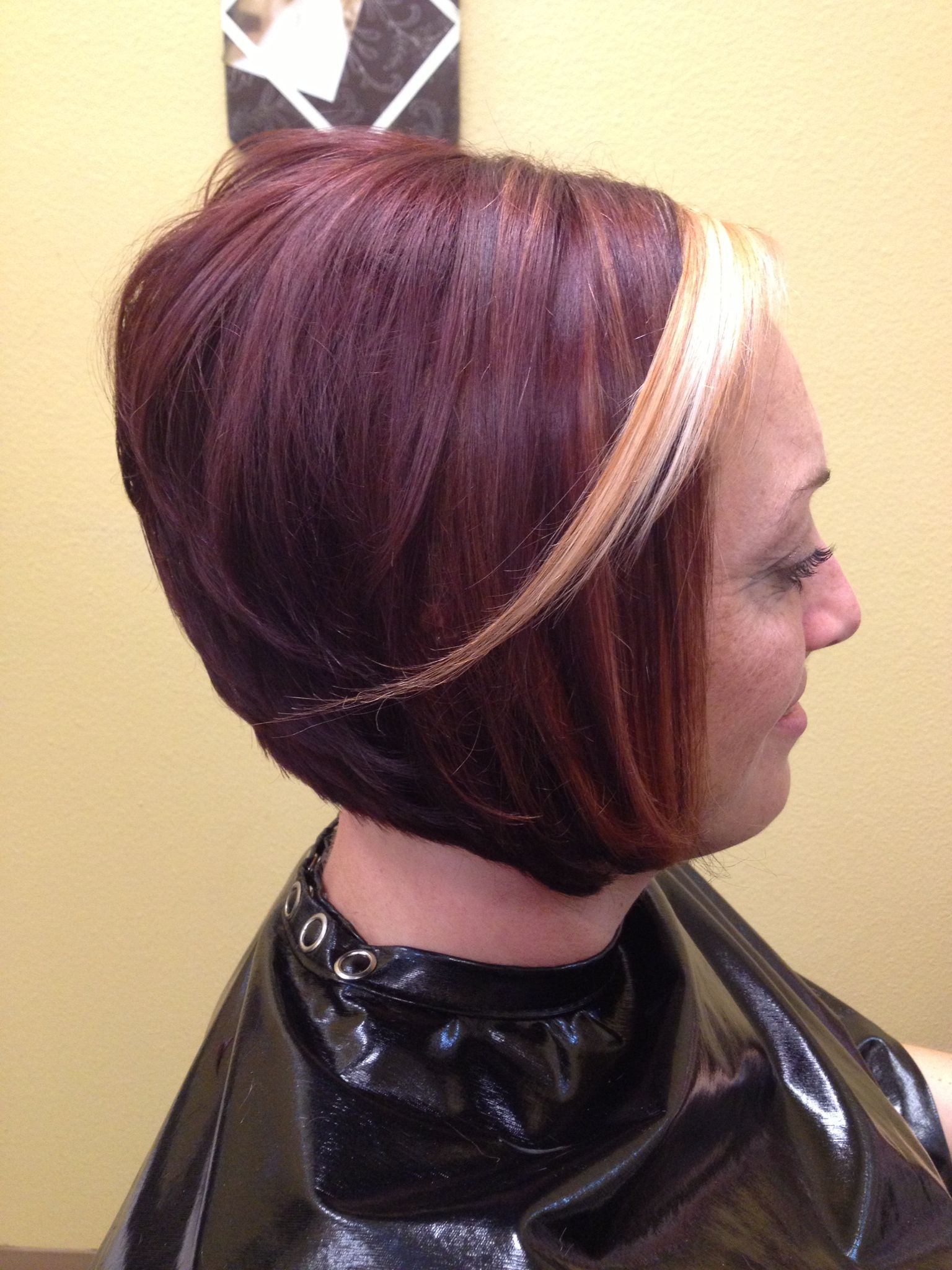 Bold Red Colored A Line Haircut With Platinum Accent Bangs Created