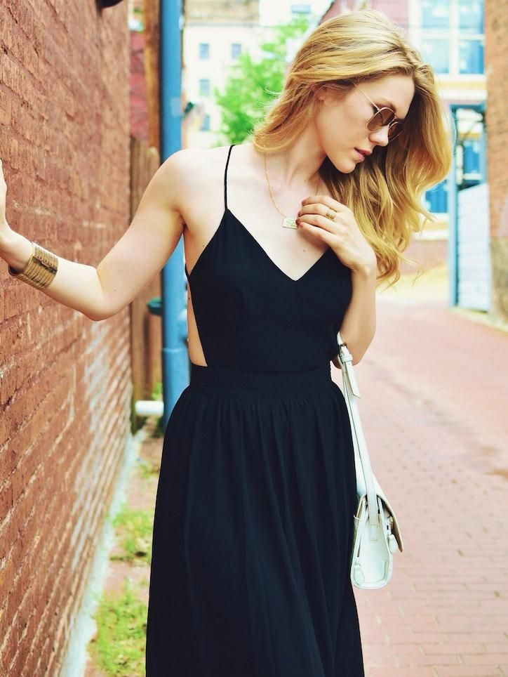 beaf3dfff3 Shop V-neck Cami Straps Backless Maxi Dress online. SheIn offers V-neck  Cami Straps Backless Maxi Dress   more to fit your fashionable needs.