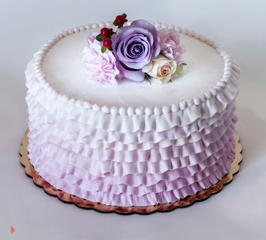 Ombre purple buttercream ruffles, pearls and fresh flowers ...