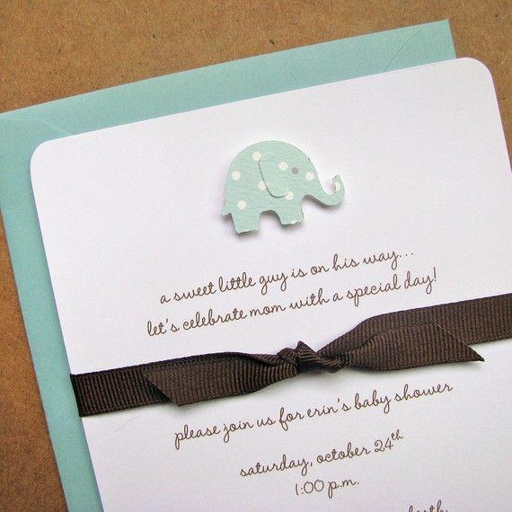 Elephant Baby Shower Invitation Chocolate Grosgrain Ribbon Pool Polka Dot Handmade Heavey Cotton Cardstock Set Of 8