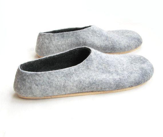 Men House Shoes Felt Slippers Titanium Gray Black Cork Soled 100