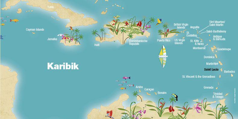 Landkarte Saint Lucia Karibik Karibische Inseln St Lucia